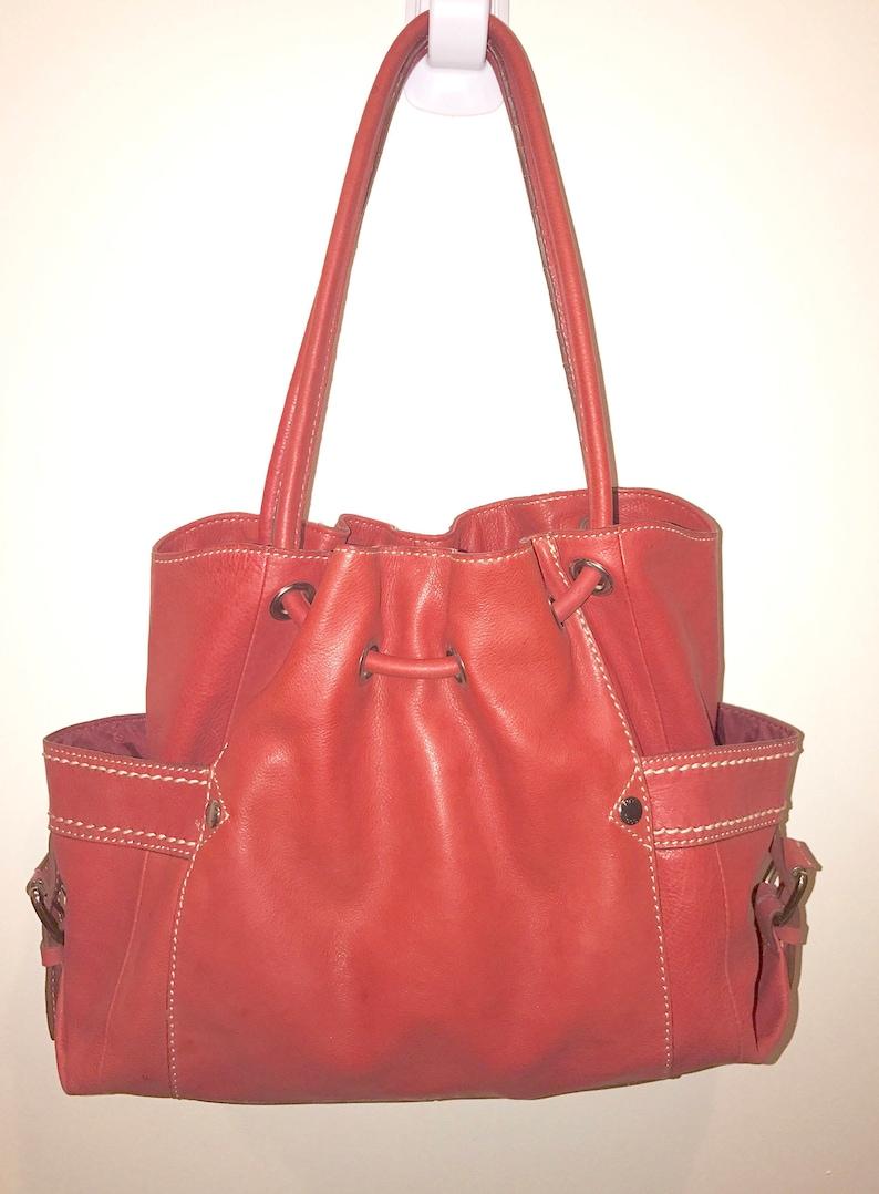 3d44811621 Fossil handbag Red leather hobo purse shoulder bag Large Very