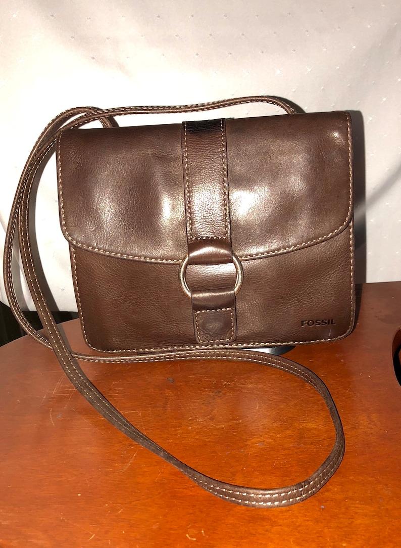 281fb796a16b20 Fossil handbag brown pebbled leather vintage purse cross body | Etsy