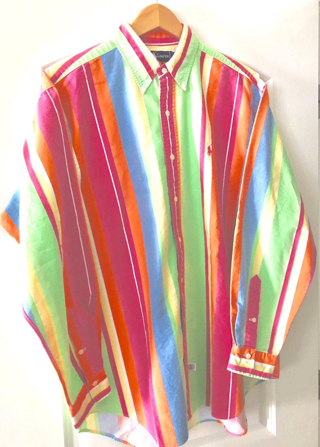Free Ship Usa Ralph Lauren Mens Dress Shirt Long Sleeve Rainbow Stripes Size Large 100 Cotton Soft As Flannel