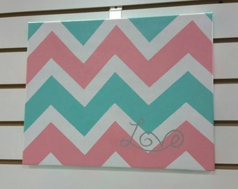 Chevron Coral and Teal Decor