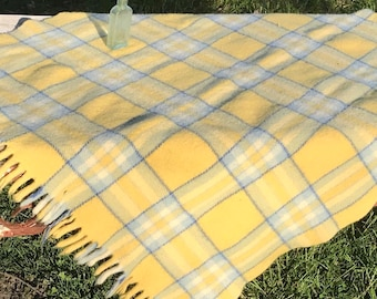 Vintage Yellow and Blue Wool Plaid Blanket with Fringe * Picnic Blanket * Wool Throw * Horner