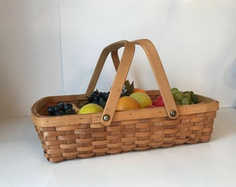 Large Vintage Market Basket with Handles * Woven Basket * Gathering Basket * Rectangle Basket * Casserole Carrier * 17 x 12