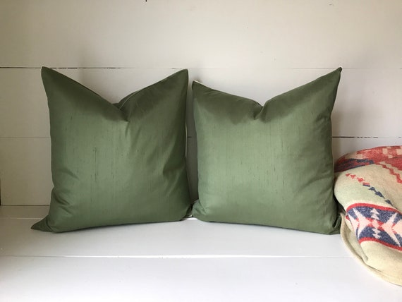 Pair Of Green Pottery Barn Pillows Removable Covers Etsy