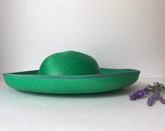 Wide Brim Straw Hat ~ Sun Hat ~ Summer ~ Beach ~ Sunday Church ~ Wedding ~ Vacation ~ Women's ~ Vintage