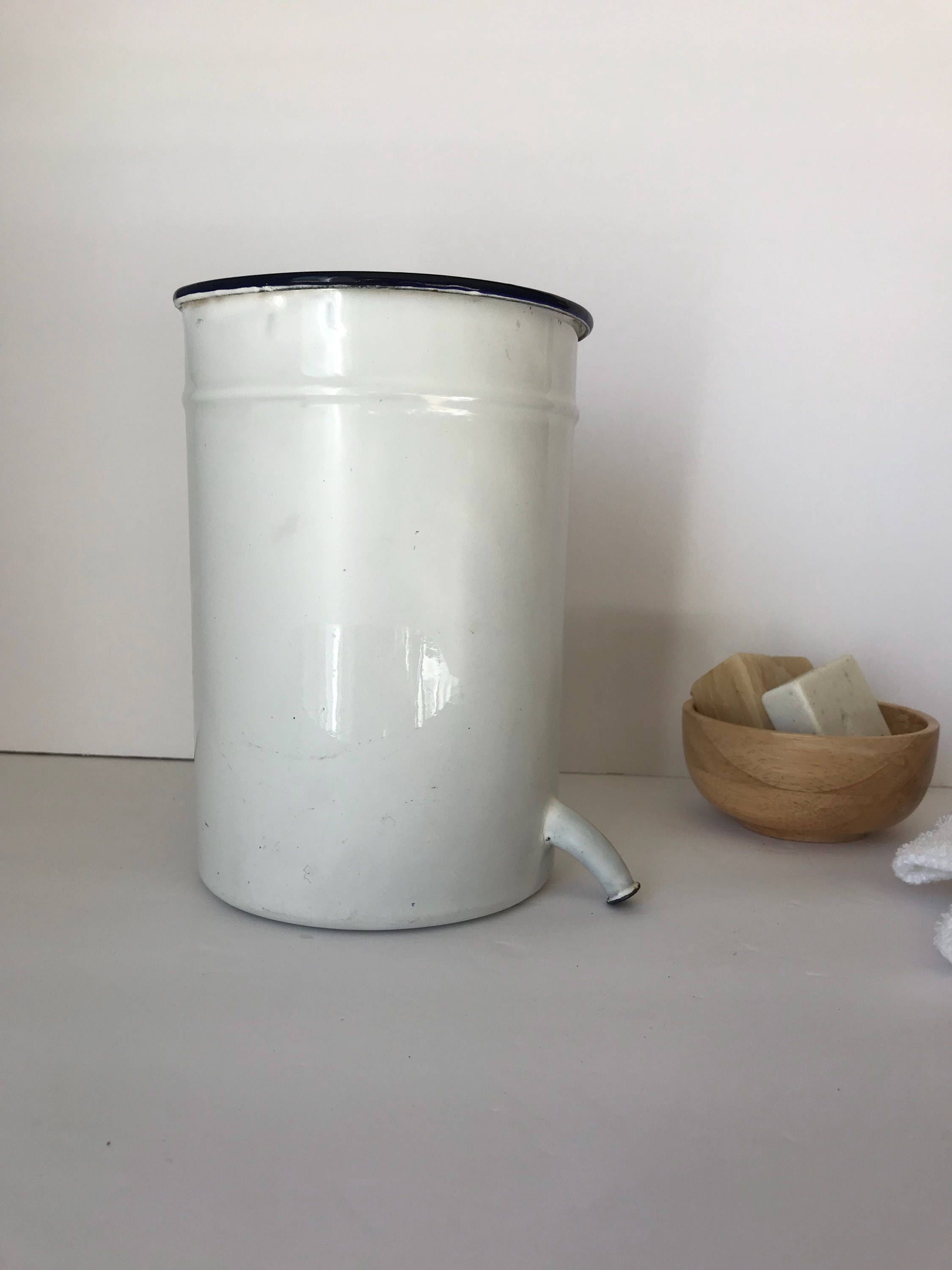 Vintage Enamelware White Enamelware Container With Spout