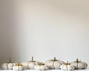 Gray Stuffed Fabric Pumpkin . Fall Farmhouse Decor . Halloween Pumpkin