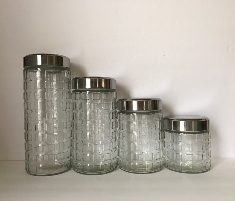 Glass Canisters * Kitchen Canisters * Set of 4 * Modern Glass Canister Set  * Air Tight Lid