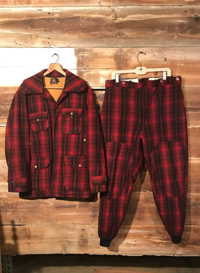 4f9abcdf44ca7 Vintage Woolrich Plaid Hunting Jacket and Matching Pants Red | Etsy