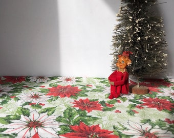 Vintage Red Green and White Poinsettia Tablecloth * Holly and Red Berries * Retro Christmas * Mid Century * Pine Needles * Christmas Table
