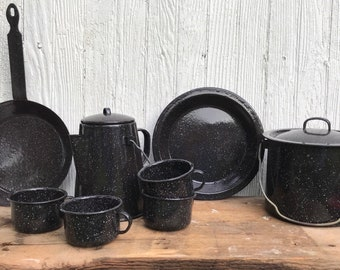 Camping Cookware * Camping Kitchen * Navy Blue * Enamelware Dishes * Pots and Pans * Camping Gear * Coffee Pot * Mug * Frying Pan * Campfire