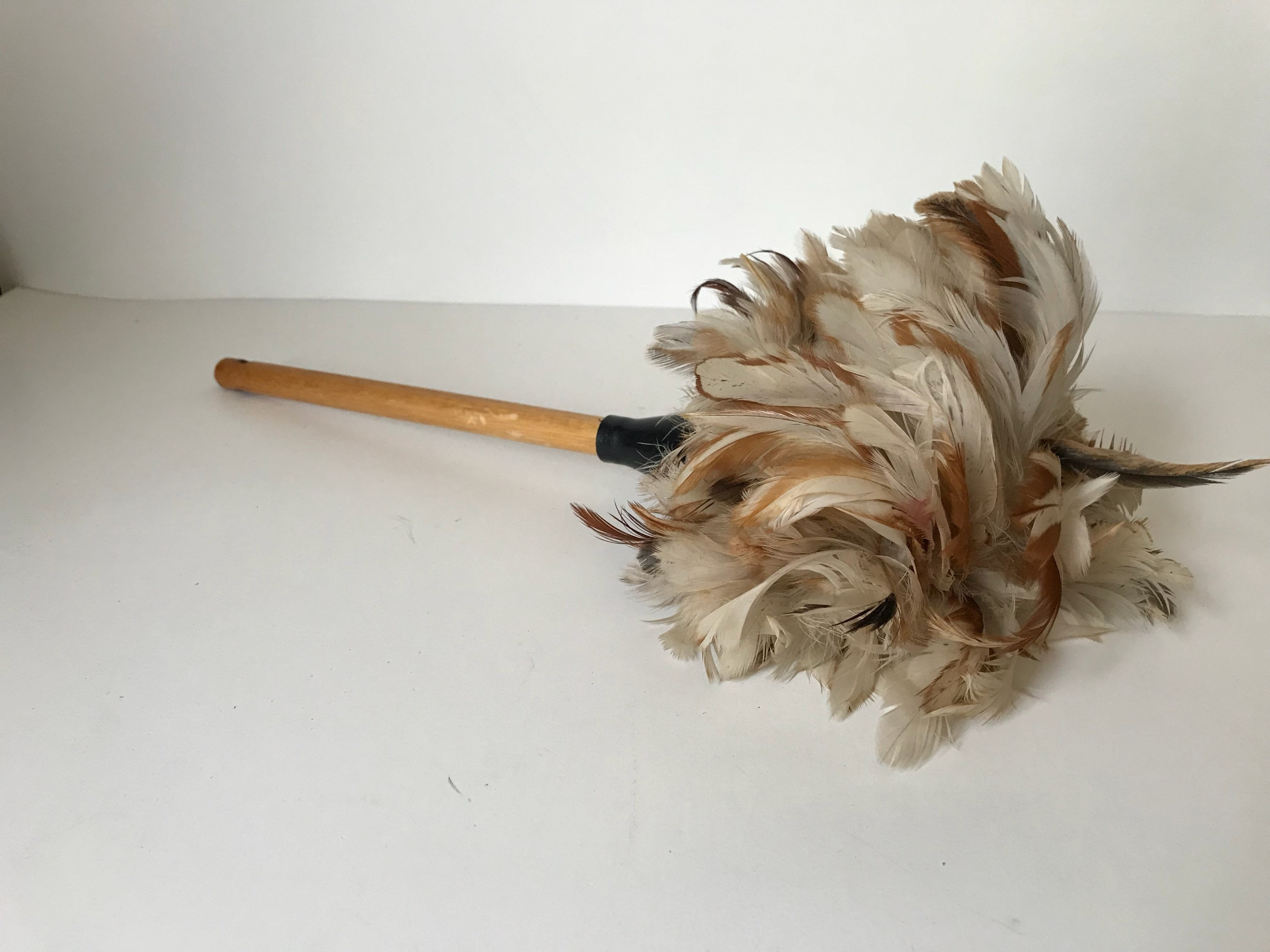 Vintage Feather Duster With Wood Handle Farmhouse Decor