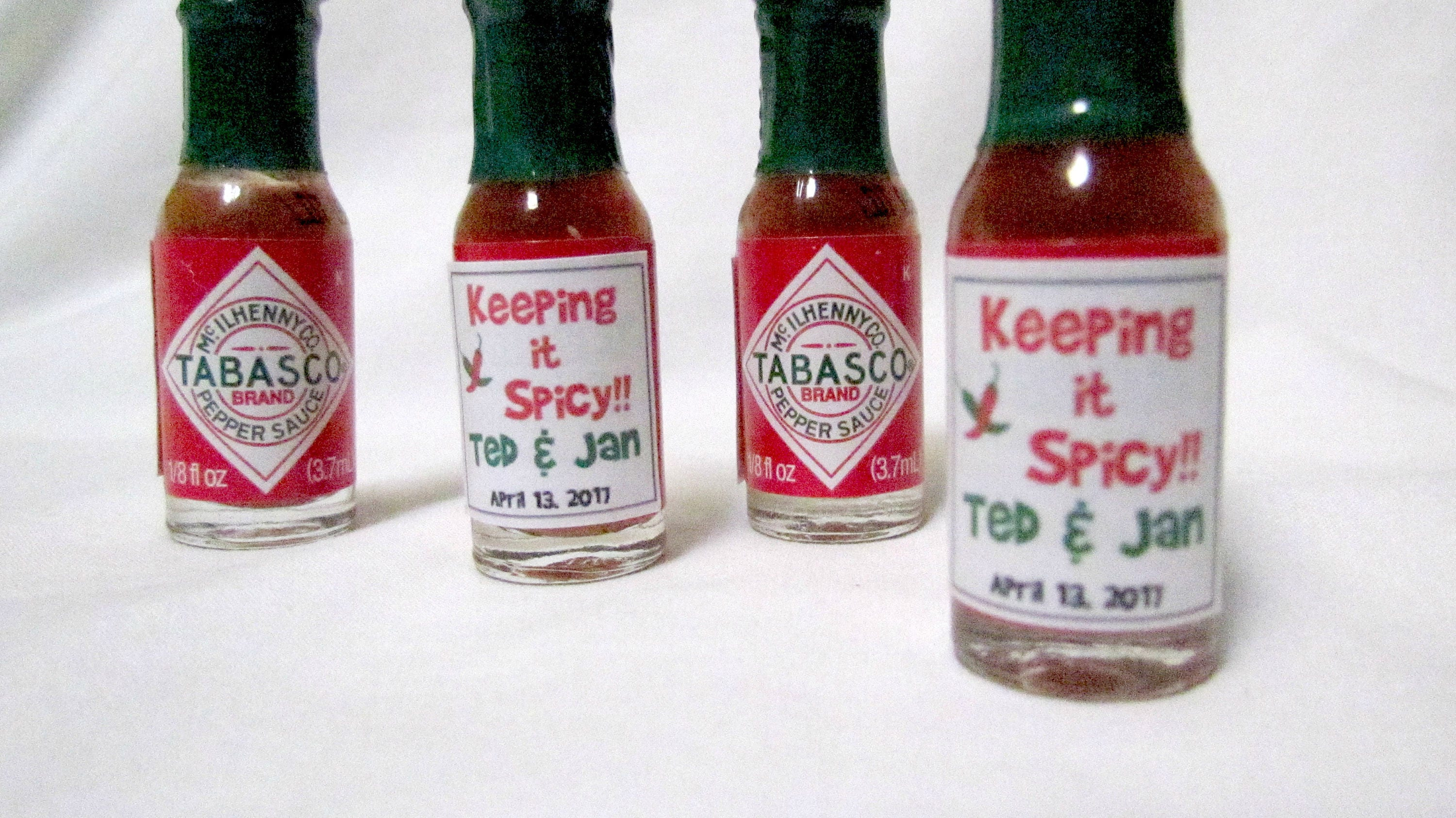 Personalized Mini Tabasco Sauce Keeping It Spicy Wedding