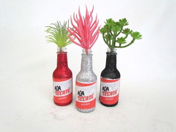 Party Decorations Set Of 6 Tecate Beer Bottles Glittered