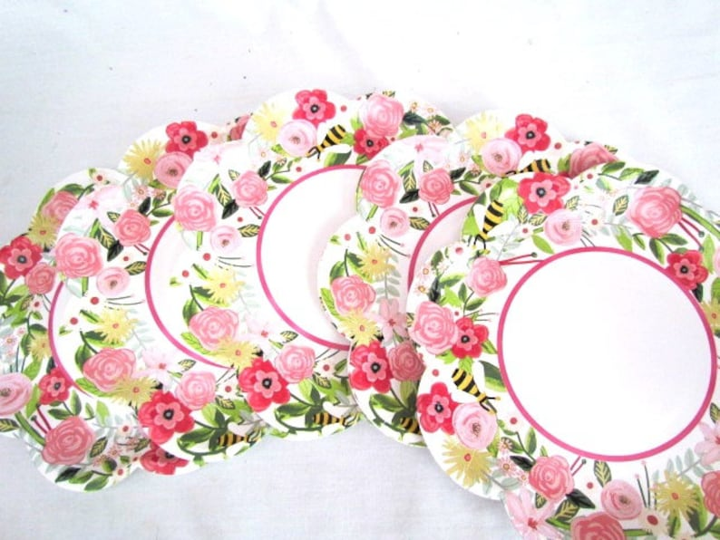 Pink Spring Baby Shower Paper Plates and Napkins Red Flowers Bridal Shower Coral Bridesmaid Luncheon Garden Tea Party Birthday