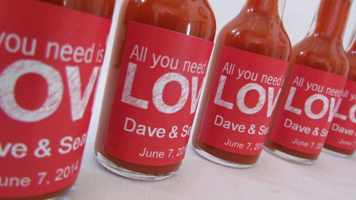 Hot Sauce wedding favors all you need is Love Retro chalk pick | Etsy