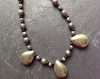 Pyrite and black agate necklace