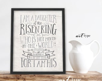 I Am Daughter Of The King Scripture Print Instant Download Etsy