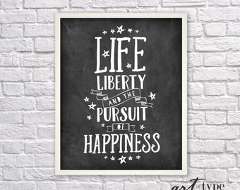 Patriotic Print Quote Land Of The Free Because Of The Brave Etsy