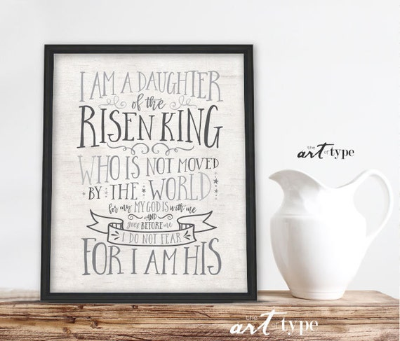 I Am A Daughter Of The King Scripture Art Print Instant Etsy