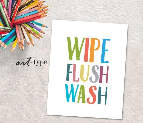 Kids Bathroom Print Wipe Flush Wash Instant Download 8x10 Etsy