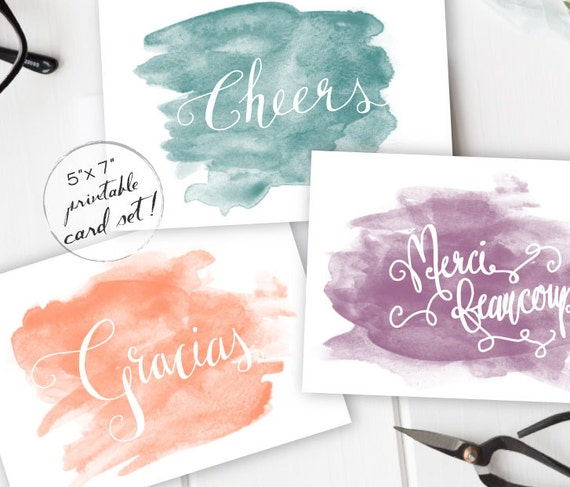 Thank You Greeting Card Set Cheers Gracias Merci Beaucoup Instant Download 5x7 Printable Card Thank You Note Watercolor Cards Diy Card