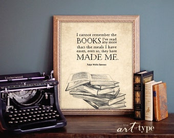 Vintage Bibliophile Quote Print, Emerson Quote, INSTANT Download 8x10 Printable, Reading Wall Art, Book Lover Gift, Bookworm, Illustration