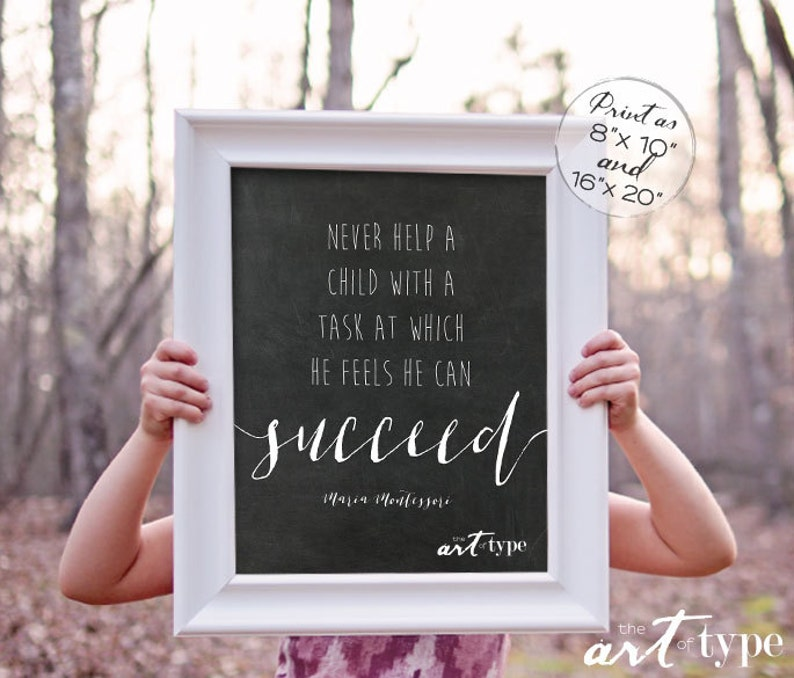 Maria Montessori Quote Education Print Instant Download 8x10 16x20 Printable Playroom Wall Art Homeschool Print Classroom Quotes Succeed