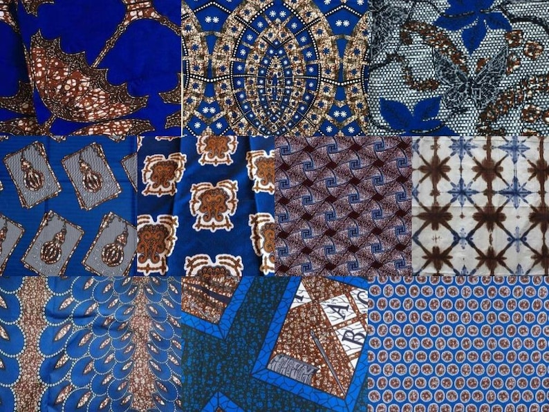 Blue /& Brown Tones ~ African Fabric Scrap Bag ~ One Pound