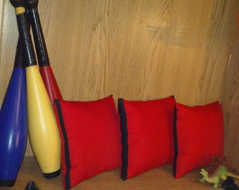3pc. Red with Black Stripe Cotton Pillow Set