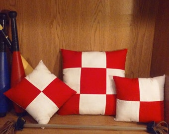 3 pc. Hand Designed Red and White Pillow Set