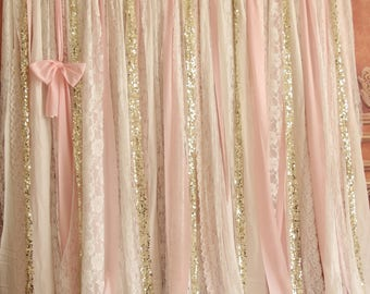Chic Shabby White Lace Pink Fabric Sparkly Photo Booth Wedding Ceremony  Stage,birthday,baby Shower Party Backdrop Nursery Curtain Decor