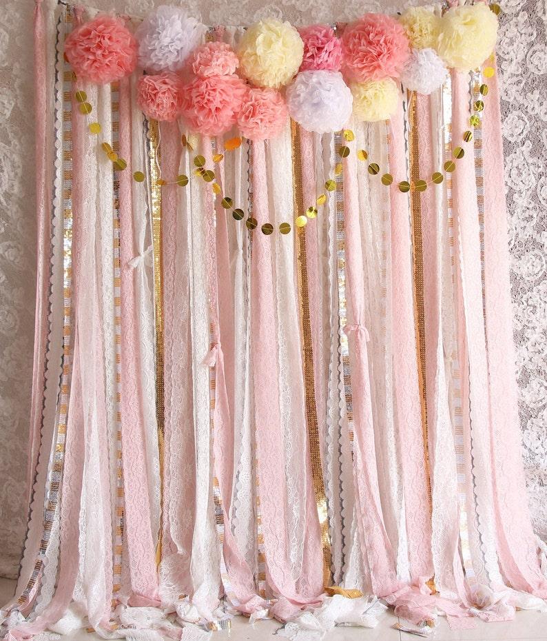 Rose blanc dentelle Sparkle tissu toile de fond mariage image 0