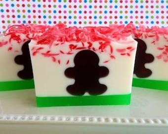 Gingerbread Man Soap- christmas soap, holiday glycerin soap
