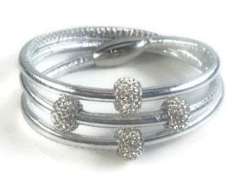 Silver Leather Rhinestone Bracelet, Womens Leather Bracelet, Leather Wrap Bracelet, Womens Leather Jewelry, Womens Bracelet, Silver Bracelet