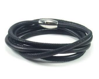 Black Leather Wrap Bracelet, Womens Leather Bracelet, Leather Bracelet Wrap, Black Leather Bracelet, Womens Leather Jewelry, Multiwrap