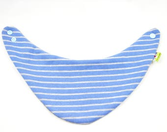 Baby pad in striped blue and grey background. Elastic cotton fabric and very soft.
