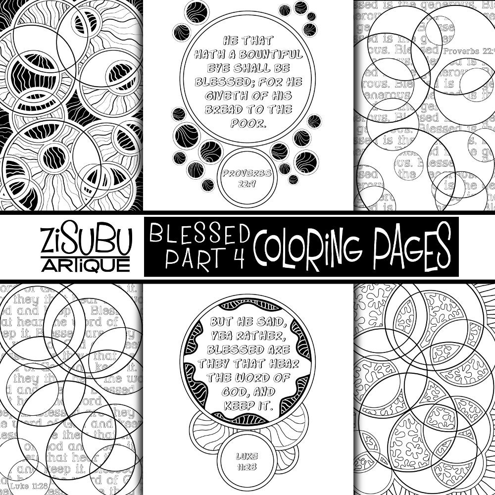 Adult Teen Scripture Coloring - BLESSED Part 4 - Organic Style  Illustrations - Circles - Creative Bible Study Tool - Color Journaling