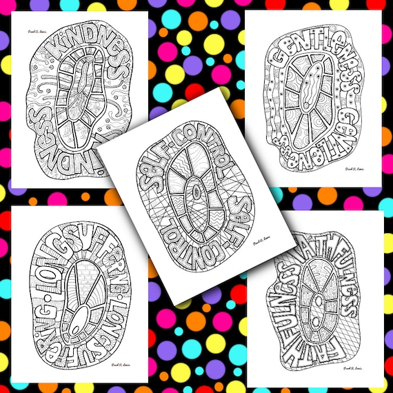 Fruit Of The Spirit Coloring Pages Printable Christian Etsy