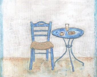 Greek Cafe Table & Chair - Original Painting on Square canvas