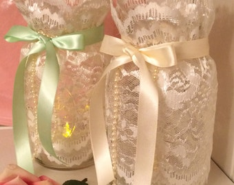 Mason Jar Decor, Wedding Mason Jars, Mason Jar Centerpieces, Jar Decorations, Lace Mason Jars, Wedding Mason Jar Decor, Bridal Shower Decor