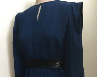 Vintage 1980's Deep Cobalt Blue Silk Pleated Bodice Dress/Argenti