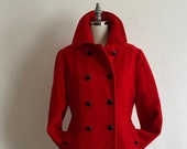 1970s Vibrant Red Wool Mackintosh Double Breasted Pea Coat