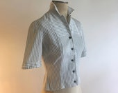 1940 39 s White Blue Pinstriped Crisp Cotton Ribbed Short Sleeve Button Down Jacket Shirt 40s 1940s