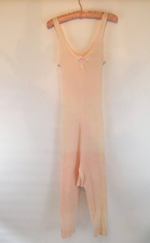 1920's R.H.Macy's Wool Ribbed Women's Long Underwe