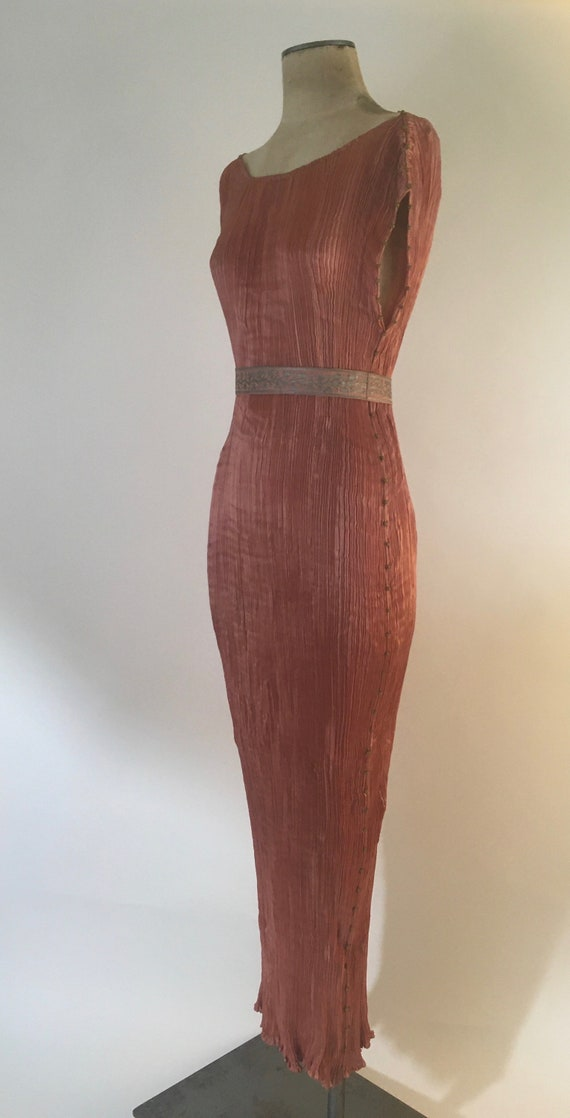 1910-1920 Mariano Fortuny Salmon Pink Delphos Gow… - image 3