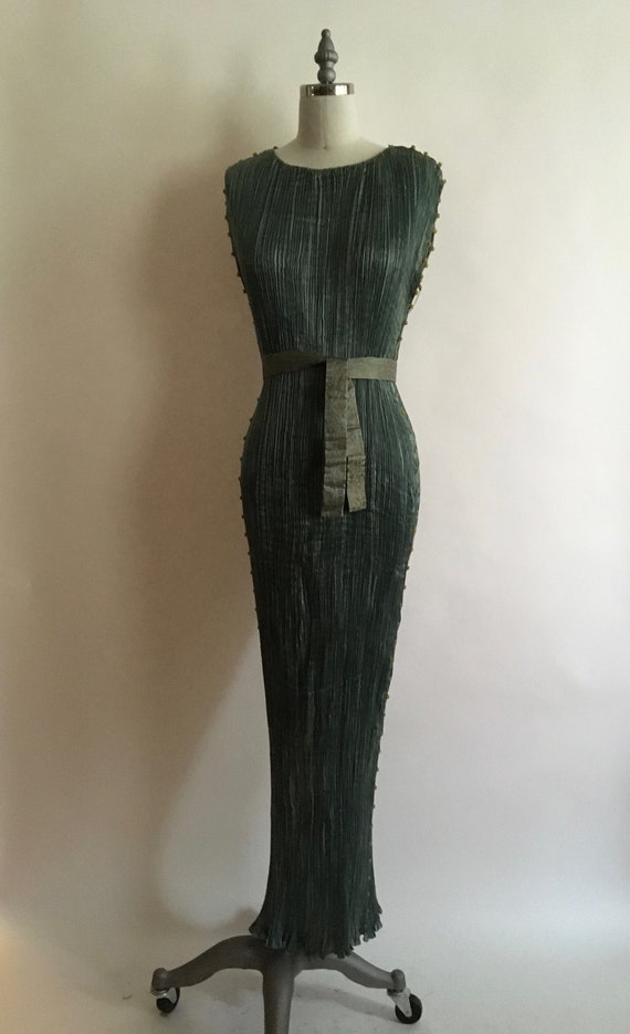 1910-1920 Mariano Fortuny Muted Teal Delphos Gown/