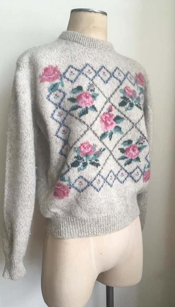 80s Wool Lattice/Rose Garden Sweater/80s Sweater
