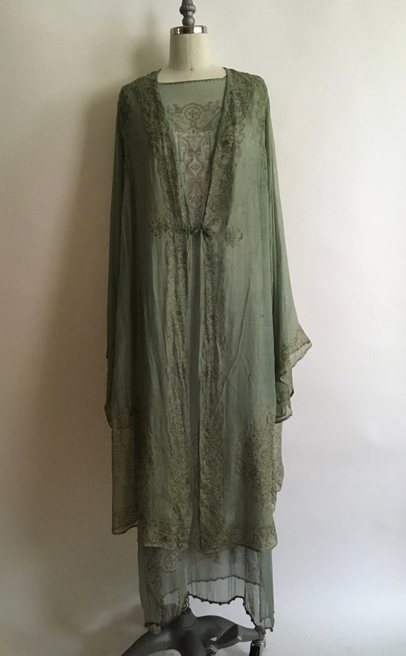 1920's Fortuny Gold Stenciled Silk Chiffon Tunic D