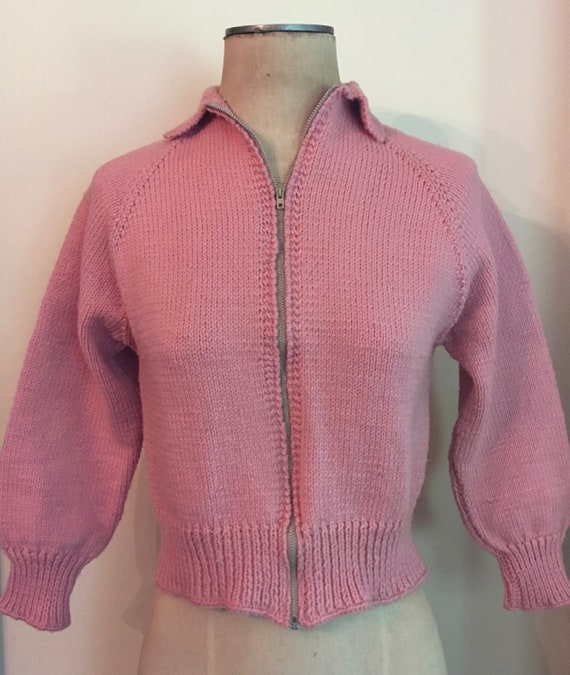1950's Blush Pink Wool Knit Zip-Up Cropped Hand K… - image 2
