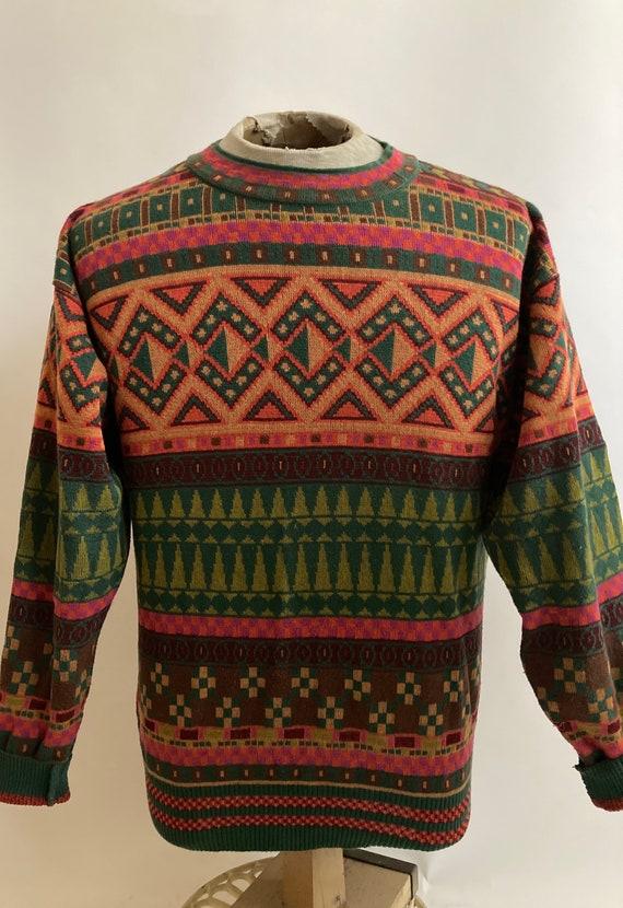 1980s Kenzo Homme Geometric Woven Cotton Sweater/M